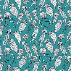 Jellyfishes seamless pattern