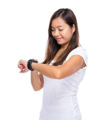 Woman look at smart watch