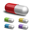 Set of medical capsule on white background.