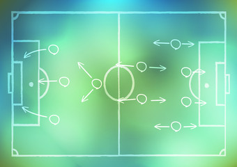 drawing a soccer game strategy on background