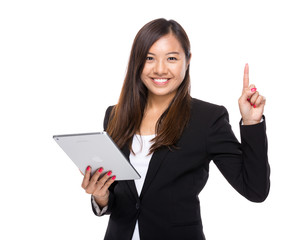Asian business woman with digital tablet and finger up