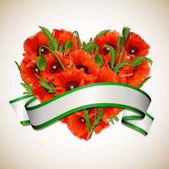 Flower heart of red poppies with ribbon.