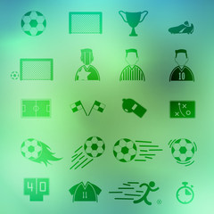 Soccer Icons set on background. Illustration eps10