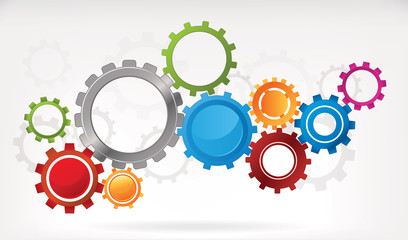 Mechanical abstract background with interlocked cogwheels