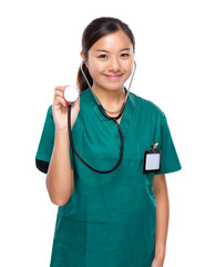 Woman doctor hold with stethoscope