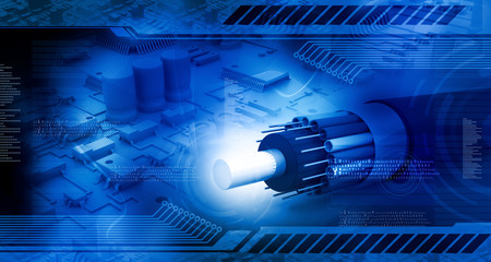 Technology background, circuit board with optic fiber cable.