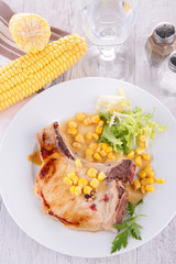 pork chop and corn sauce