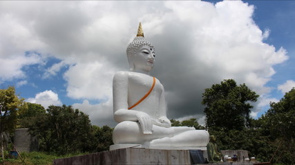 Time Lapse Beautiful white Buddha And Nice Sky Of Thailand