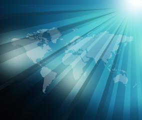 World Map  sunburst background .