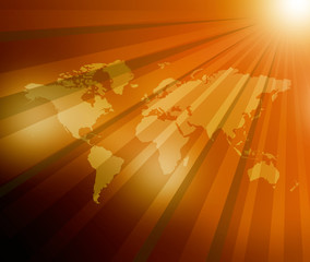 World Map  sunburst background .