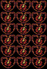 heart and flower pattern