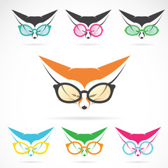 Vector images of fox wearing glasses