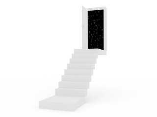 stair with the opening door 3D