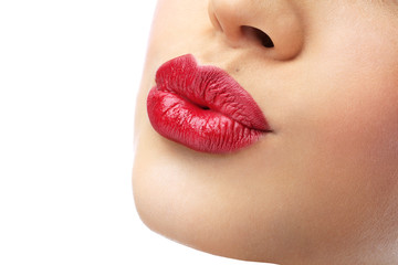 beautiful girl with red lips and a gentle kiss