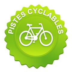 pistes cyclables sur bouton web denté vert