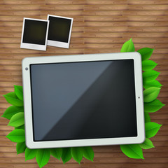 Vector illustration of tablet pc on the wooden floor