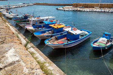 fishing boat in Gallipoli's harbor, Salento, Italy