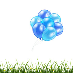Blue balloons and grass