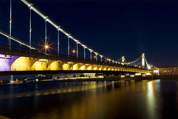 Crimean bridge at night. Moscow. Russia