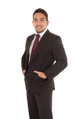 handsome latin man wearing a red tie