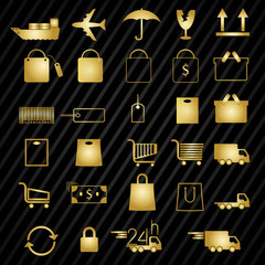 Set of shopping gold icons on Black pattern