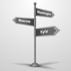 street sign post showing cities washington, moscow, kyiv