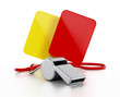 Referee whistle, yellow and red cards