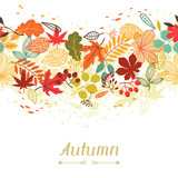 Fototapety Background of stylized autumn leaves for greeting cards.