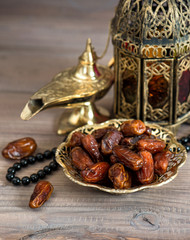 Classic arabic lamps, dates and rosary