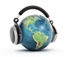 Headphones on blue globe