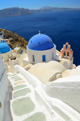 Beautiful blue domed churches at Oia, Santorini - Thira, Cyclade