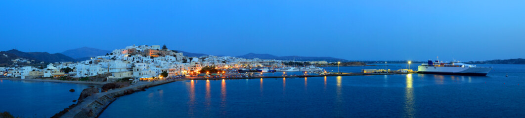 Panorama of Chora at dusk, Naxos island, Cyclades archipelago, G
