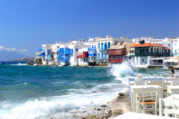 Famous Little Venice on a summer day, Mykonos, Cyclades, Greece