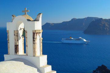 Cruise ship in caldera in Oia, Santorini, Cyclades, Greece