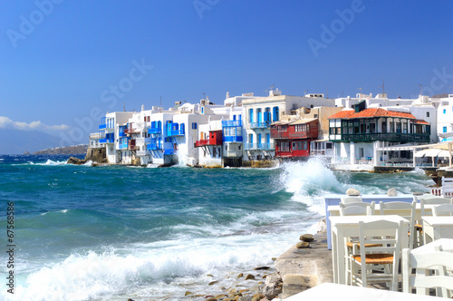 Famous Little Venice on a summer day, Mykonos, Cyclades, Greece - 67568586
