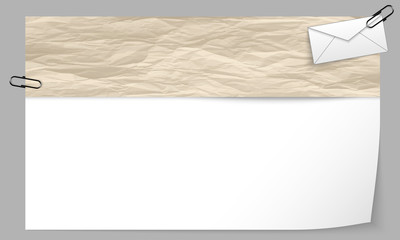 text box with texture of paper and envelope