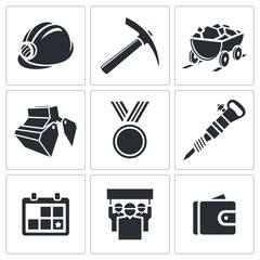 Coal industry icon collection