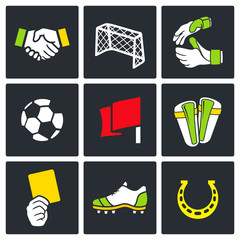 Soccer vector color icon collection