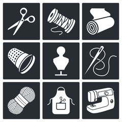 Sewing clothing manufacture icon collection