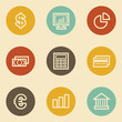 Finance web icon set 1, retro circle buttons