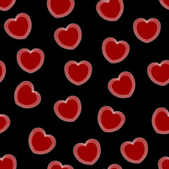 Red hearts - seamless vector pattern