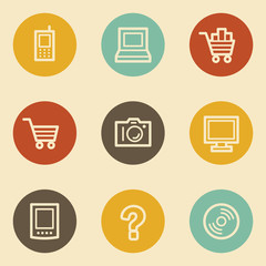 Electronics web icon set 1, retro circle buttons
