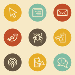 Internet web icon set 2, retro circle buttons