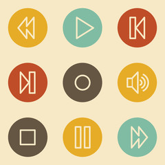 Media player web icons , retro circle buttons