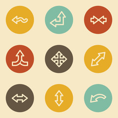 Arrows web icon set 2, retro circle buttons