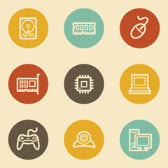 Computer web icons, retro circle buttons