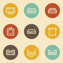 Audio video web icons, retro circle buttons