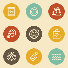 Ecology web icon set 3, retro circle buttons