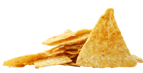 a pile of nachos isolated on a white