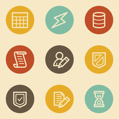 Database web icons, retro circle buttons